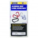 Aluminum Snap D-Ring Carabiner Assortment 12 pc