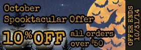 Spooktacular Sale 10% Off all orders over $50